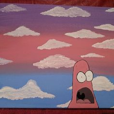 Saw inspiration on a video Thought I d give it a go art spongebob patrickstar predetermined-drive - - art give Inspiration patrickstar predetermineddrive spongebob Thought Video Small Canvas Paintings, Easy Canvas Art, Small Canvas Art, Easy Canvas Painting, Cute Paintings, Simple Acrylic Paintings, Mini Canvas Art, Canvas Ideas, Sunset Painting Easy