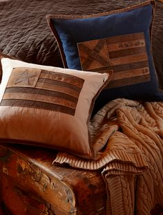 Rustic pillows faux leather on canvas flag with star might be perfect