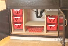 Adjustable under-sink storage, using dollar tree baskets