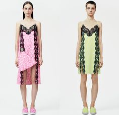 Christopher Kane 2015 Resort Womens Lookbook Presentation - 2015 Cruise Pre Spring Fashion Pre Collection London UK - Denim Jeans 3D Embroidery Embellishments Flowers Florals Lace Sheer Chiffon Perforated Cutoffs Shorts Blouse Shirt Culottes Wide Leg Palazzo Pants Trousers Safari Jungle Leopard Cheetah Frock Miniskirt Outerwear Jacket Sweater Jumper Dress One Off Shoulder Neon Fold Out Curved Hem Noodle Spaghetti Strap Accordion Pleats Cut Out Waist Neoprene Pantsuit