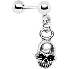 16 Gauge Steel Skull Dangle Cartilage Tragus Earring #piercing #tragus #cartilage #skull #bodycandy #pirate #halloween