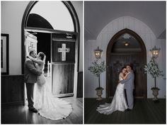 bride and groom in front of chapel doors with crosses at whitestone inn
