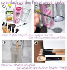 clean the brush - Make Up Tips Makeup Tricks, How To Clean Makeup Brushes, Diy Beauty, Beauty Hacks, Eyeliner, Make Up Anleitung, Charcoal Face Mask, Lilac Hair, Happy Skin