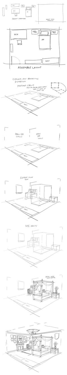 Quick guide to drawing a room from a simple layout.