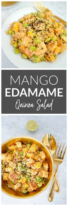 Mango Edamame Quinoa Salad - a tasty, healthy summer salad made with fresh mango, crunchy edamame, plant protein packed quinoa, and baked tofu! Vegan and gluten-free. Perfect for summer BBQs.