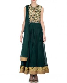 Military Green Anarkali Suit with Embroidered Jacket
