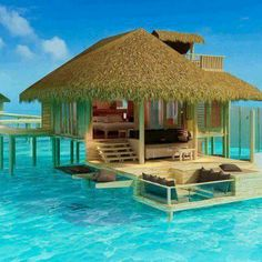 Over the crystal clear water room