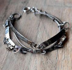 Multi-strand Modern Bracelet Sterling Silver Bracelet Raw