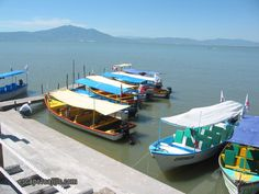 Some of the local water taxis that are used on Lake Chapala in Mexico.