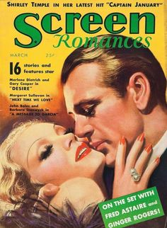"Marlene Dietrich and Gary Cooper on the cover of ""Screen Romances"" magazine, USA, March 1936."