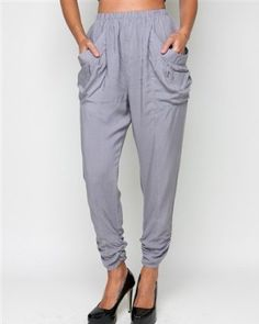 G2 Chic Draped Pocket Cropped Super Comfy Pants(BTM-PNT,GRY-S) G2 Chic. $6.97