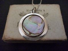 "A beautiful mother of pearl pendant necklace - 925 - sterling silver - Shimmery - Unique - 18"" necklace - Pendant 1.25"" x 1.25"" by MalvernJewellery on Etsy"