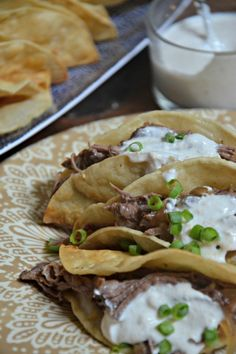 Slow Cooker Pot Roast Tacos with Horseradish Sauce | www.mountainmamacooks.com