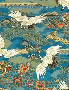 Japanese Import - 1000 Tsuru II - Cranes Overhead - Quilt Fabrics from Japanese Textiles, Japanese Patterns, Japanese Prints, Japanese Painting, Chinese Painting, Chinese Art, Japanese Crane, Korean Art, Art Graphique