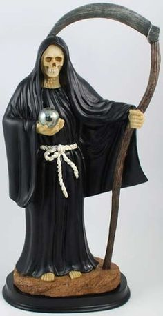 The Most Holy Death, also known as Saint Death, is widely revered in South America, particularly Mexico, as a figure who receives petitions for protection, love, and good luck. Though condemned as a pagan tradition by the Catholic Church, she is still often revered as Saint who will receive offerings and prayers, with some seeing her as a form of the Virgin Mary. Here she is presented in a traditional fashion, depicted as the Grim Reaper with a skull face, concealed in a black mantle a…