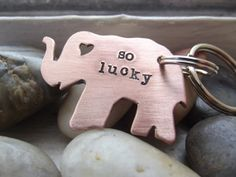 So Lucky Elephant Keychain Ready to ship by patsdesign on Etsy, $19.00
