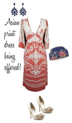 Red Cream Asian Print Kimono Sleeve Empire Waist Dress