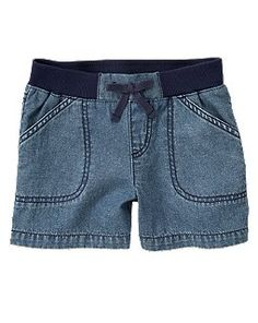 Pull-On Chambray Short