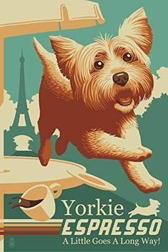 Yorkshire Terrier - Retro Yorkie Espresso Ad (12x18 Art Print, Wall Decor Travel Poster)