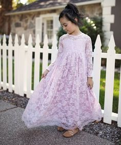 $34.99 Rose Lace Bow-Accent A-Line Dress - Toddler & Girls on #zulily! #zulilyfinds