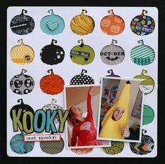 Kooky Pumpkin Cutouts - Gettin' By **Card idea** Scrapbook Sketches, Scrapbook Page Layouts, Scrapbook Albums, Scrapbook Cards, Scrapbooking Ideas, Cute Halloween, Holidays Halloween, Halloween Crafts, Halloween Scrapbook