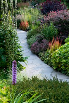 Perennial garden with flagstone path featuring barberry and Japanese Blood Grass, Imperata cylindrica, barberry, Berberis j-aime-le-jardinage Unique Gardens, Beautiful Gardens, Flagstone Path, Garden Landscaping, Garden Path, Landscaping Ideas, Garden Grass, Border Garden, Fruit Garden