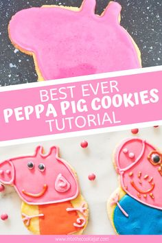 This Peppa Pig cookie tutorial is great for your child's Peppa Pig themed birthday party. Made with sugar cookies and royal icing, learn how to make Peppa Pig cookies, step-by-step, as well as how to decorate Peppa Pig cookies with royal icing. Cookie Recipes For Kids, Best Cookie Recipes, Pig Cookies, Sugar Cookies Recipe, Peppa Pig Cookie, Pink Icing, Cookie Tutorials, Pig Party, Royal Icing Cookies