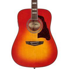 D'Angelico Lexington Dreadnought Acoustic-Electric Guitar Cherry Sunbu