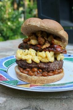The ultimate cookout burger...The Backyard Blowout Burger