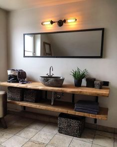 Rustic Bathroom Designs, Bathroom Design Luxury, Rustic Bathrooms, Dream Bathrooms, Modern Bathroom Design, Beautiful Bathrooms, Home Interior Design, Wood Slab Table, Bathroom Styling