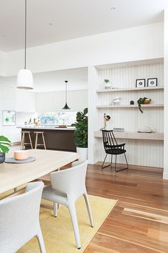 Modern farmhouse home office tucked into a dining room space, modern farmhouse dining room, farmhouse dining in open floor plan decor Home Office Space, Home Office Design, Home Office Decor, House Design, Kitchen Office Nook, Office Designs, Computer Nook, Study Nook, Piece A Vivre