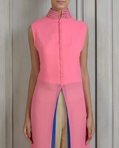 Pink Tunic with Mirror Work Collar