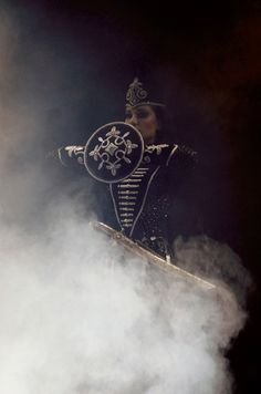 A Circassian woman on the stage. An Amaze (Circassian word for Moon-Mother) represents a female warrior of the quasi-matriarchal Circassian society.