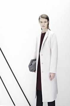 Tailored wool dress, gorgeous long wool coat, waisted pleat trousers, grey leather bag /COS
