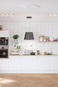 Hvidt køkken i model White Oak Line fra AUBO Køkken & Bad. Køkkenet ...