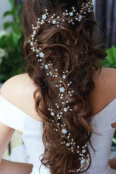 Vid de Moonstone cabello largo pelo novia vid cristal perlas