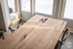 Plank dining table made from rowan tree. Unique grain and flaming pattern with rustic feel. Made from Ilosaari island park trees - wood material with an interesting story to tell. Tarinapuupöytä Ilosaaren pihlajasta. Massiivipuinen lankkupöytä ruokasaliin. Unique Dining Tables, Island Park, Custom Woodworking, Rustic Feel, Rowan, Plank, Finland, Solid Wood, Trees