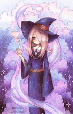 Sucy Little Witch Academia Cartoon Witch, Anime Witch, Little Wich Academia, My Little Witch Academia, Manga Anime, Anime Art, Purple Art, Popular Anime, Witch Art