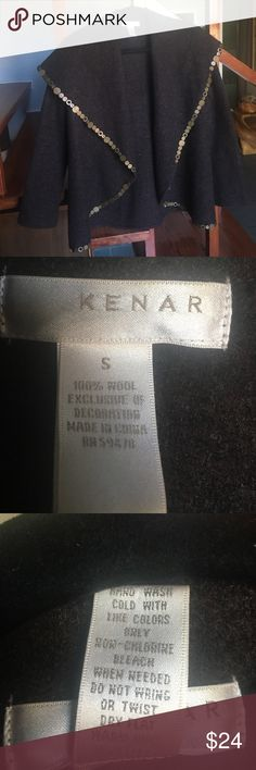 "Kenar beautiful 100% wool wrap/1 Great condition, brown wool felt fabric with brass detailing, length 31"" Kenar Sweaters"