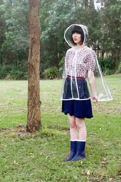 {Clear Raincape = ready for spring!} love the raincape + the entire adorable outfit :) Perfect for recess duty!!!
