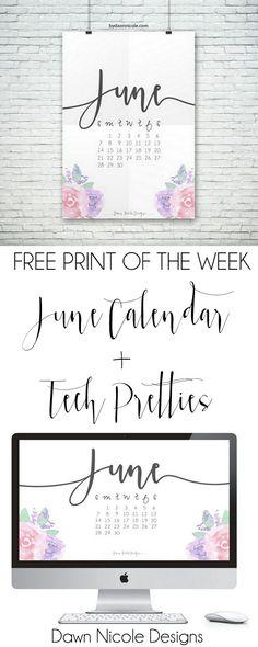 Free Print of the Week: June 2015 Printable Calendar + Desktop Wallpaper | bydawnnicole.com