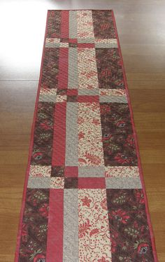 Quilted Table Runner, Table Runner Quilt, Red Brown Table Runner, Patchwork Table Runner, Quiltsy Handmade, Year Round Quilted Table Runner