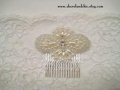 The Louise hair comb  1920s wedding comb Downton by ShorelandChic, $23.00  #whitedeco #artdeco #comb #1920s #haircomb #beaded #handmade #1930s #jazzage #flapper #1920swedding #gatsbywedding