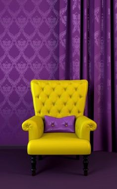 Yellow Arm Chair And Purple Pillow