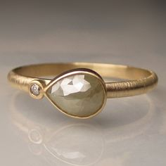 Rose Cut Diamond Engagement Ring Recycled 14k Gold by JanishJewels, $535.00