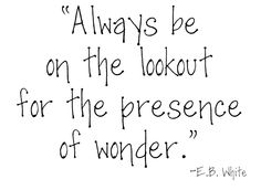 Always be on the lookout for the presence of wonder.  EB White quote.