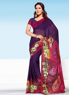 This season your look gets better definition with just a little attention to detail. Add a vibrant burst of color to your wardrobe with this purple georgette casual saree. The brilliant attire creates...