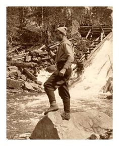 Tom Thomson Fishing in Ontario: Ontario artist Thomson influenced a group of Canadian painters that would come to be known as the Group of Seven and was a expert outdoorsman and angler. He disappeared during a canoeing trip on Canoe Lake in Algonquin Park in 1917 and his body was discovered in the lake eight days later. While the official cause of death was accidental drowning, many still feel he was murdered.  Source: Archives of Ontario