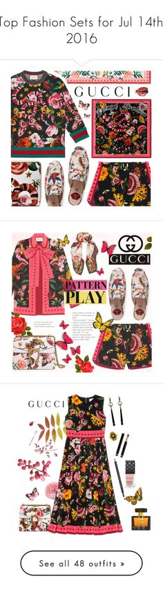 """Top Fashion Sets for Jul 14th, 2016"" by polyvore ❤ liked on Polyvore featuring Gucci, prints, floralprint, exclusive, gucci, Flowers, butterflies, colourful, patternplay and Saro"