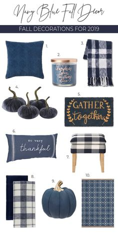 Great Totally Free The best navy fall decor for Blue fall decor is super trendy this year. Ideas These decorations are simple and self-explanatory, however, many persons might never have these some Blue Fall Decor, Fall Home Decor, Autumn Home, Navy Blue Decor, Fall Bedroom, Happy Fall Y'all, Scrapbooking, Fall Halloween, Halloween Stuff